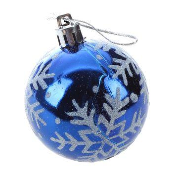 New 6pcs Christmas Tree Balls Diameter 6cm Snowflake Color Drawing Decorations Ball Xmas Party Wedding Ornament(Blue)