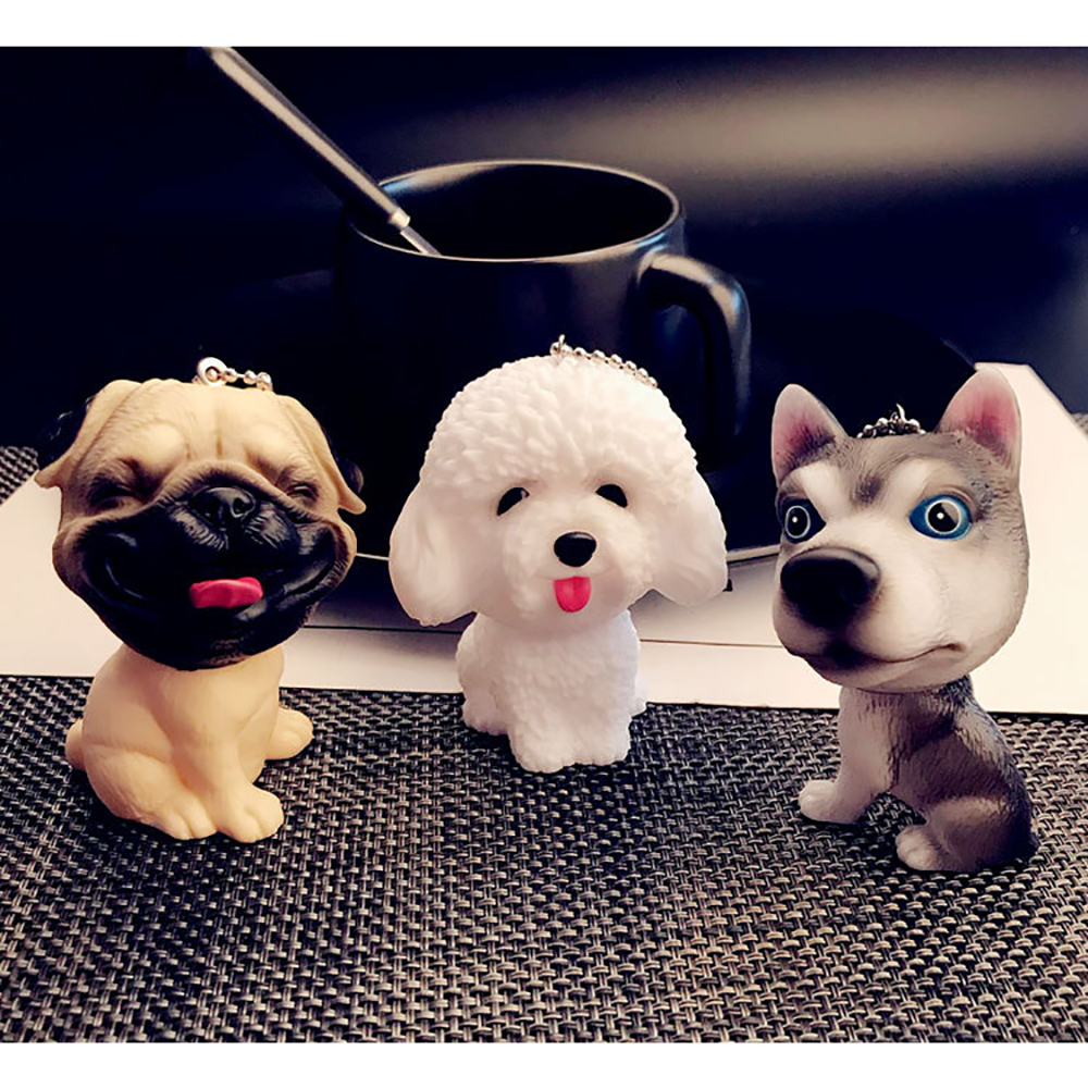 Cute Husky Pug Puppy Pendants Key Ring Handbag Purse Charms Pendants Key Ring Car Keychain Bag Charm Keyring
