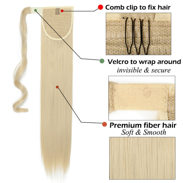 S-noilite 24'' Long Straight Synthetic Ponytail Wrap Around Clip In Ponytail Hair Extensions Heat Resistant Hair Tail 2