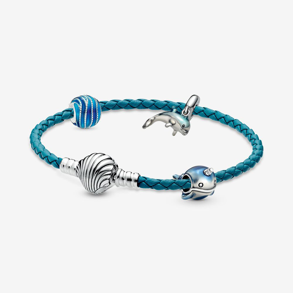 Real 925 Sterling Silver Sea Animal Leather <font><b>Bracelet</b></font> Set Fit <font><b>pan</b></font> <font><b>Charm</b></font> Seashell Clasp Turquoise Braided <font><b>Bracelet</b></font> DIY Jewelry image