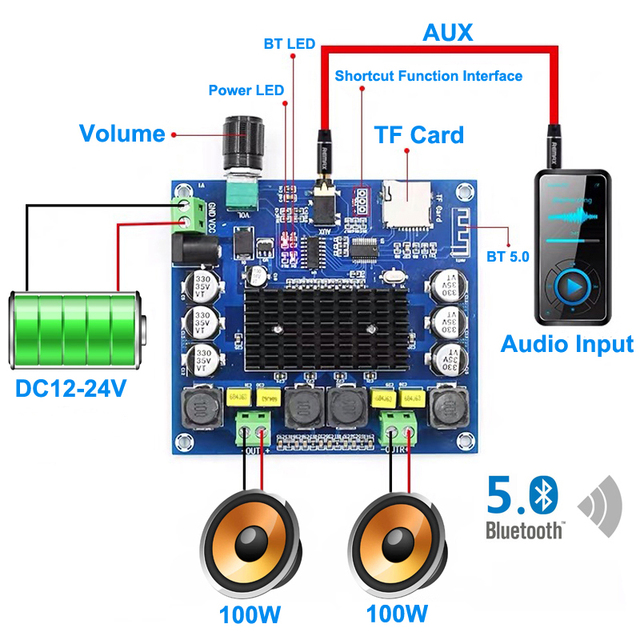 Bluetooth 5.0 100W+100W TPA3116 Digital Audio Power Amp HiFi Sound Dual Channel Class D Stereo Aux TF Card Amplifier Board