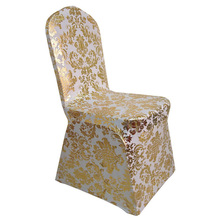 100PCS/Lot Gold Silver Flower Printed Chair Covers Spandex stretch Elastic Lycra Hotel Banquet Party Wedding Chair Covers