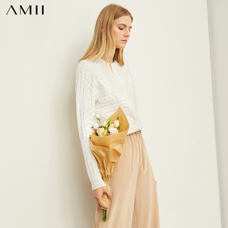 Amii Autumn Winter Women Knitted Sweater Casual Female Solid Round Neck Slim Fit Pullover Tops 11970365