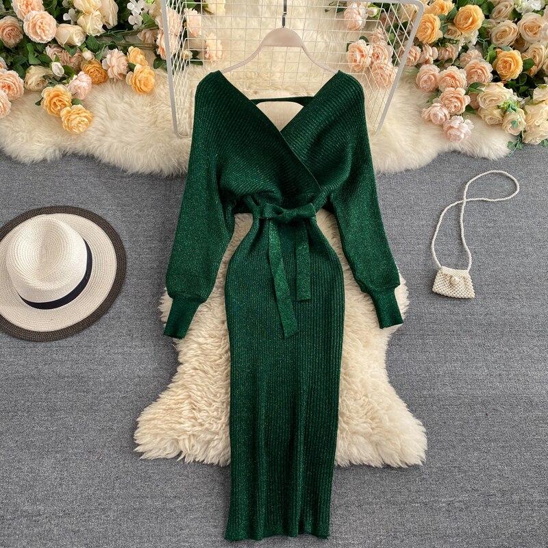 Сверкающие пикантные вечерние платье женский свитер Элегантный тонкий с v-образным вырезом базовый вязаный зеленого цвета в винтажном стил...
