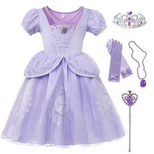 Kids Princess Party Role Play Sofia the First Disguise Dress for Baby Girls Fancy Carnival Costume Child Christmas Purple Frocks