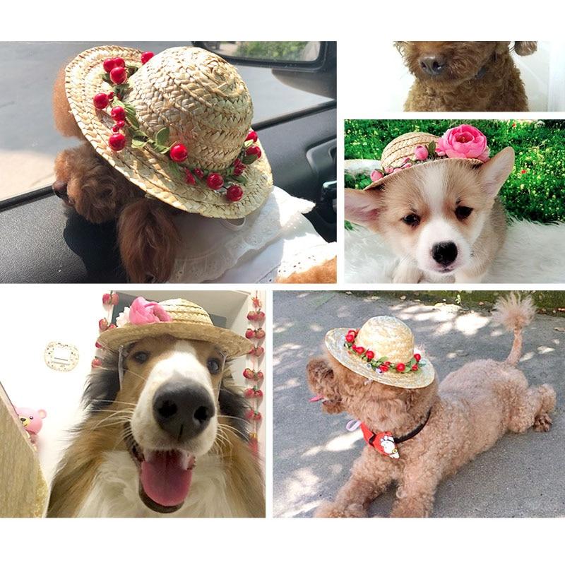 Summer Pet Dog Straw Hat Puppy Cat Hawaii Style Straw Sombrero Kitten Flower Hats Sun Cap Pet Outdoor Accessories