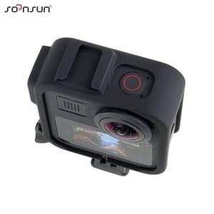 "Image 4 - SOONSUN 표준 보호 프레임 케이스 하우징 케이스 쉘 커버 (GoPro Max Go Pro 액세서리 용 1/4 ""삼각대 장착 어댑터 포함)"