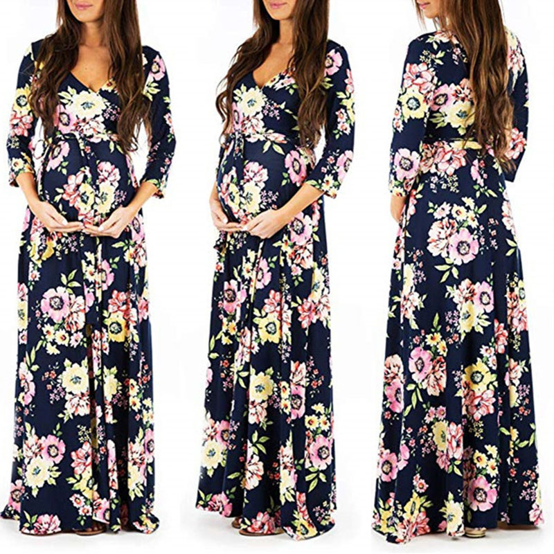 Colorful Maternity Dresses Pregnancy Clothes For Pregnant Women Vestidos Pregnant Dress For Photo Shoot Maxi Dress Clothes
