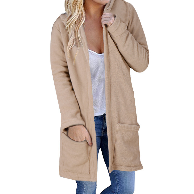 Casual Fashion Women Coat Autumn And Winter Cotton Mid-Long WomenS Popular Outerwear With Siamese Cap Pocket