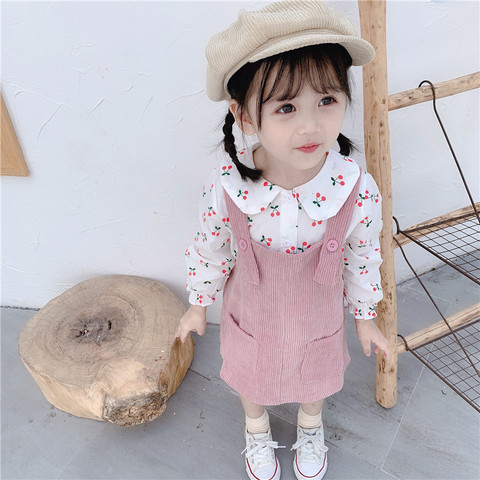 Baby Girl Dress Autumn Baby Princess Clothes Cute Print Cherry Long Sleeve T-shirt Tops With Corduroy Dress 2pcs Clothes Suits Multan