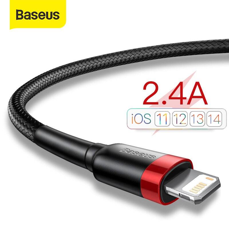 USB-кабель Baseus для iPhone 12, 11 Pro Max, Xs, X, 8 Plus, кабель 2,4 А, кабель для быстрой зарядки для iPhone 7 SE, зарядный кабель, USB-кабель для передачи данных