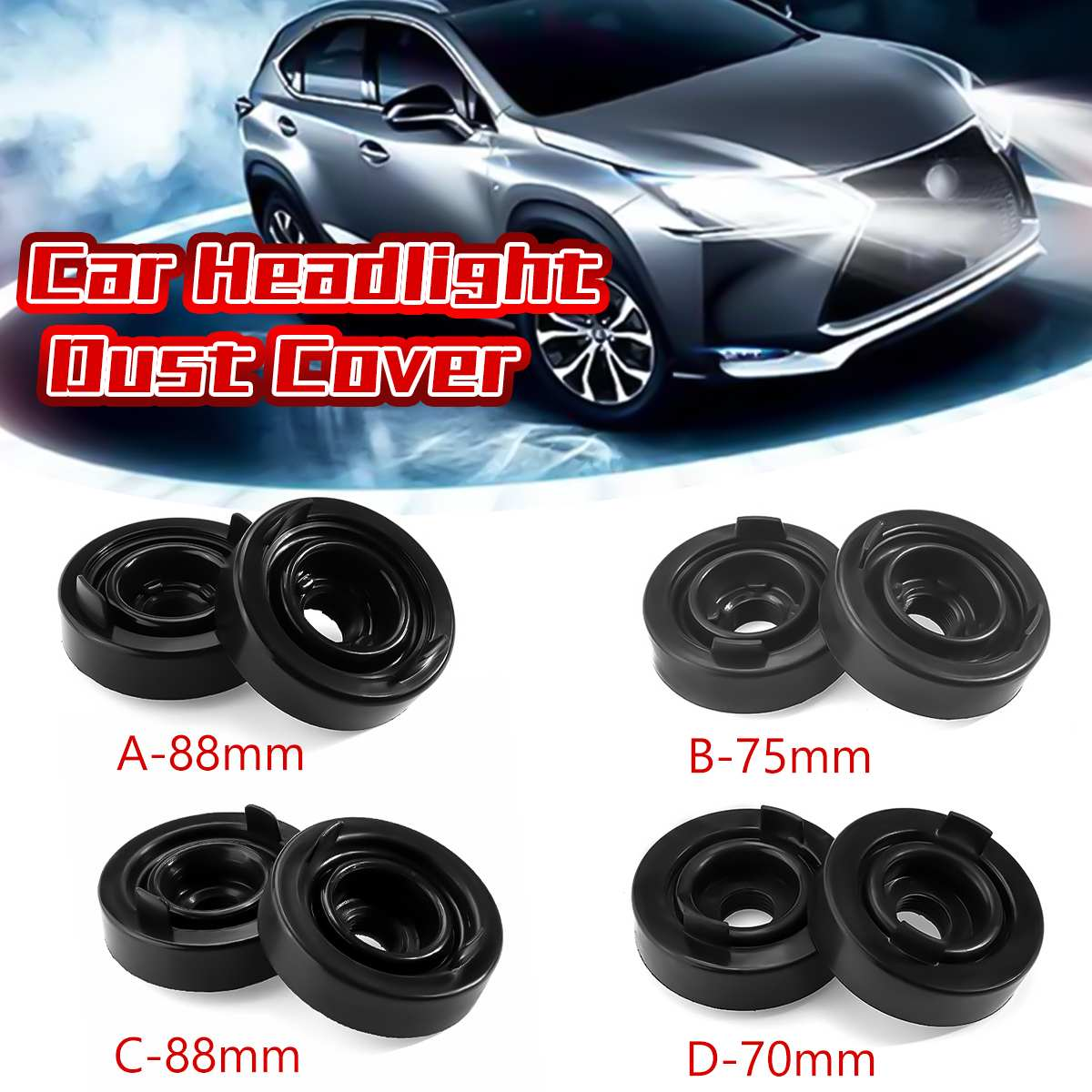 2x HID LED Headlight Headlamp Dust Cover Light Cap Dustproof 75mm