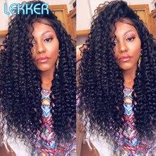 Lekker Afro perwersyjne kręcone ludzkie włosy peruka z grzywką dla czarnych kobiet puszyste głębokie Bob brazylijski Remy naturalne włosy Ombre brązowe peruki