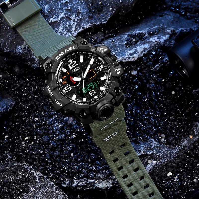 Reloj pulsera militar de hombre resistente al agua 50 m, reloj LED de cuarzo deportivo hombre, reloj deportivo para hombre 1545 S Shock