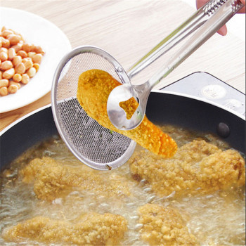 1pcs Kitchen Accessories Stainless Steel Fried Food Fishing Oil Scoop Kitchen Gadget and Barbecue Brush for Kitchen Tools Home-S 1