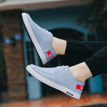 Hot 2019 Spring/Autumn New Men Casual Shoes Canvas Breathable Fashion Sneakers Oxfords Business Shoes Lace-Up Solid Shoes Men