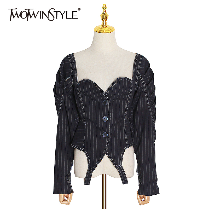 TWOTWINSTYLE Casual Striped Coats Women Square Collar Puff Long Sleeve Tunic Short Jacket Female Fashion 2020 Spring Clothes New 1