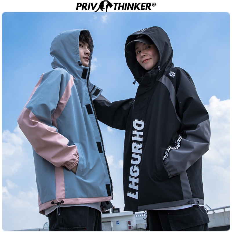 Privathinker Men Spring Hooded Casual Jackets 2020 Couple Hip Hop Fashion Loose Jacket Clothes Male Spring Patchwork Coats 5XL