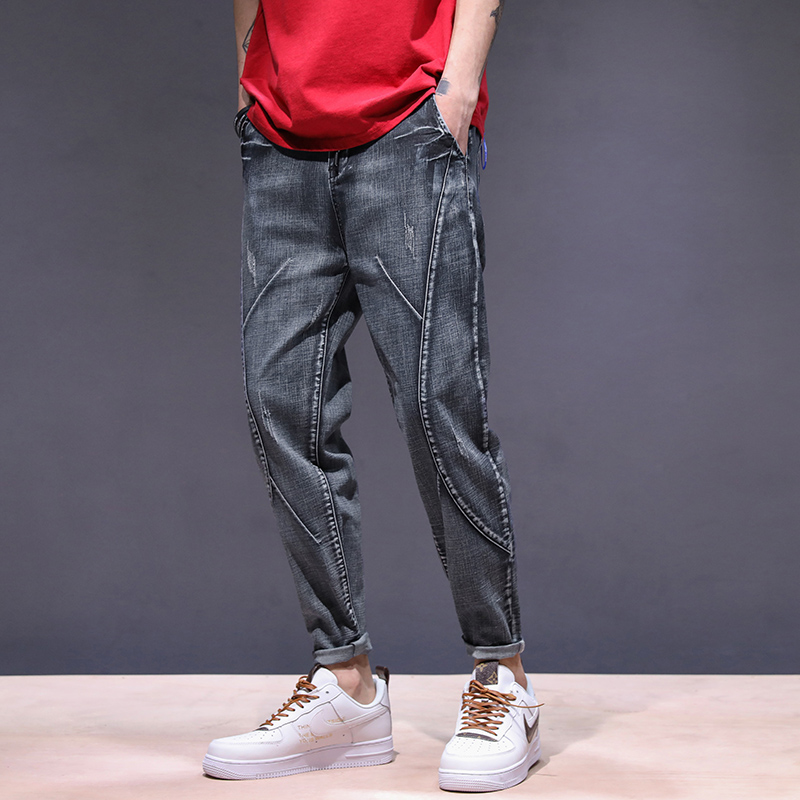KSTUN haren jeans men motorcycle jeans streetwear drawstring elastic waist loose feet Pants outdoor leisure riding jeans joggers 12