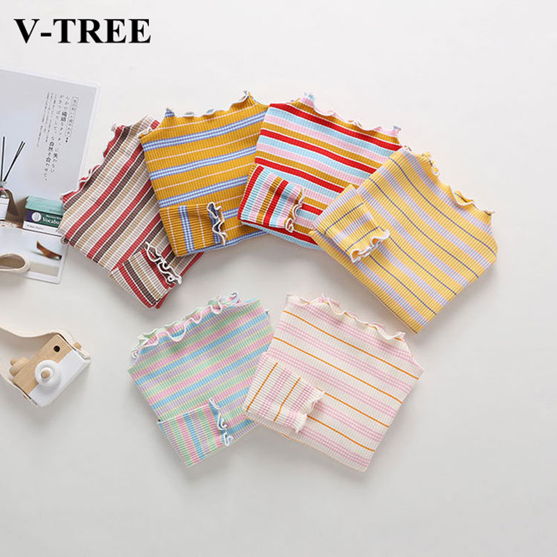 Long Sleeve T Shirt For Girls Spring Autumn Children Shirts Cotton Kids Tees Color Striped Girl T-shirt Baby Bottom Clothing