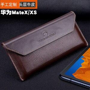 Image 2 - Модный чехол для телефона ручной работы, чехол книжка из натуральной кожи для Huawei Mate X, Магнитный защитный чехол для Huawei Mate XS MateXS