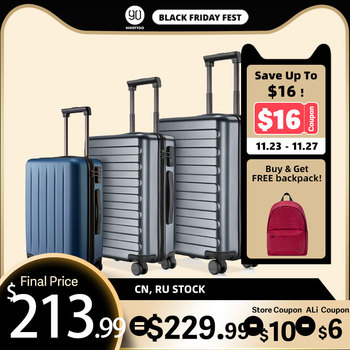 NINETYGO 90FUN 20 24 28 Inch Set Carry On Luggage Spinner Lightweight Hardshell Suitcase with TSA Lock for Travel Business Black carry on lightweight 4 wheel spinner expandable upright suitcase