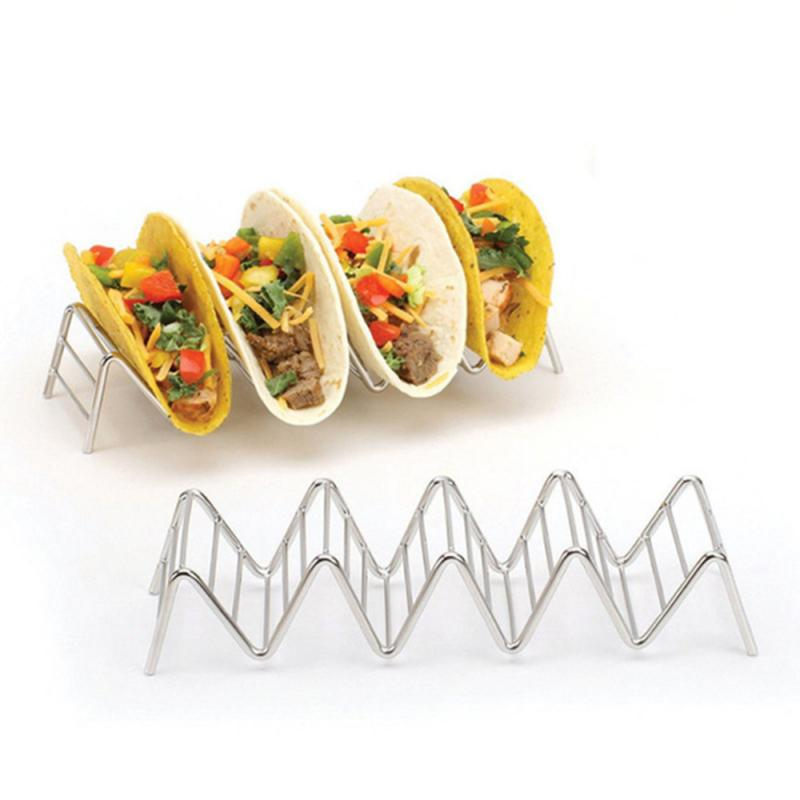 4 Size Wave Shape Stainless Steel Taco Holders Mexican Food Rack 1-4 Hard Shells Hot Dog Holder Stand Taco Rack Display