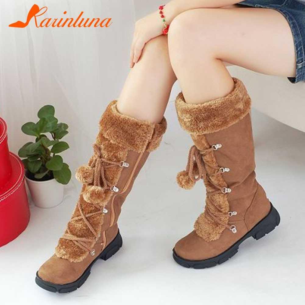 KARINLUNA kadın kürk botları bayanlar kış ayakkabı kadın fermuar rahat diz çizmeler sıcak kar botları tutmak siyah büyük boy 35-46