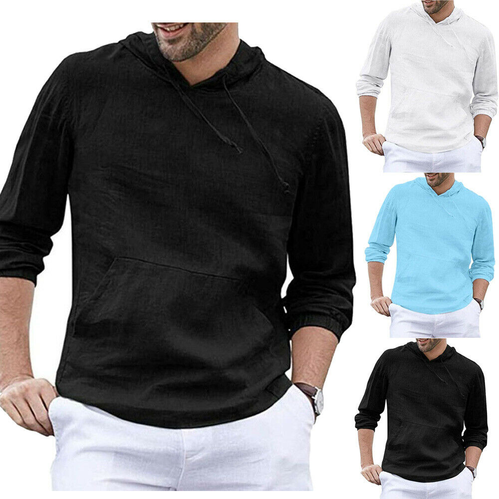 New Men's Slim Fit Hoodie Autumn Drawstring Black  Black Bottoming Underclothes Ribbed Sleeve Muscle Shirt Casual Tops