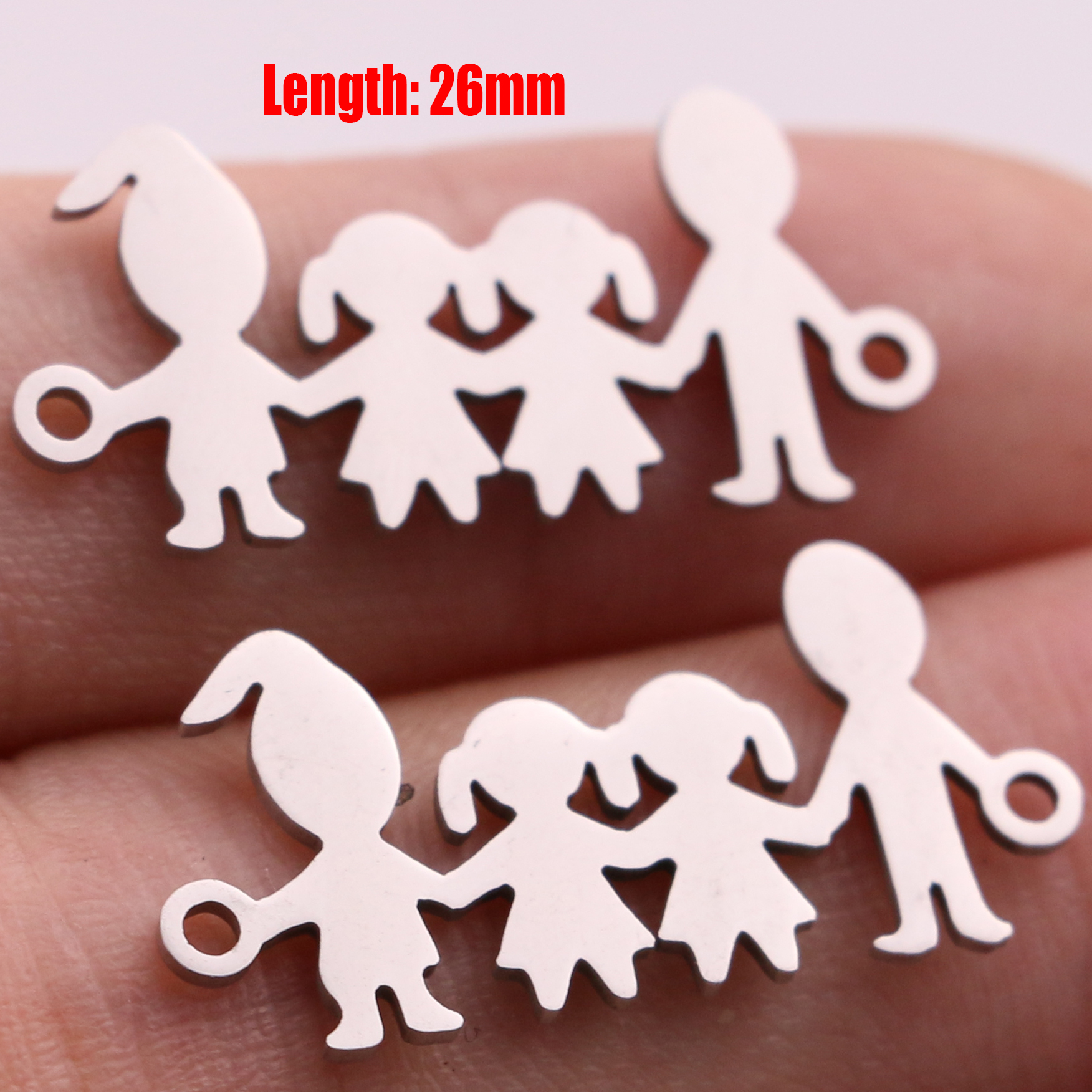 5pcs Family Chain Stainless Steel Pendant Necklace Parents and Children Necklaces Gold/steel Jewelry Gift for Mom Dad New Twice - Цвет: Steel 28