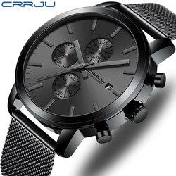 2021 CRRJU Quartz Date watch for men Luxury Brand Black Fashion Sports men's watches Waterproof Chronograph Male Clock relogio