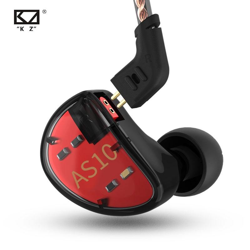 Наушники KZ AS10 5BA, сбалансированные арматурные Hi-Fi наушники-вкладыши с басами, Спортивная гарнитура, наушники с шумоподавлением