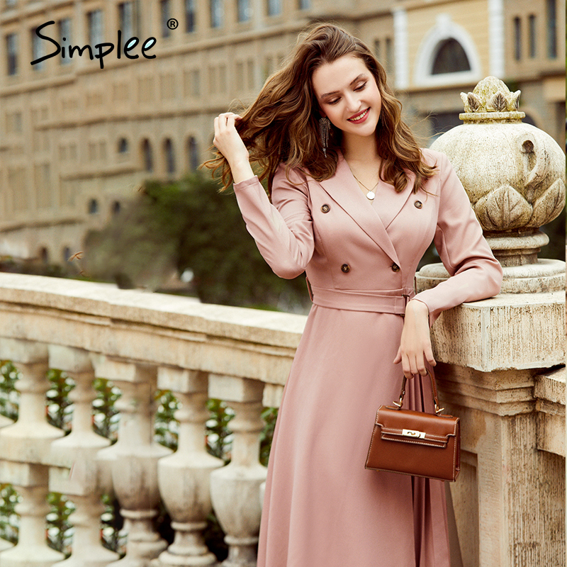 Simplee Casual suit collar autumn women dress Long sleeve office lady asymmetrical long dress Slim with belt A-line female dress 3