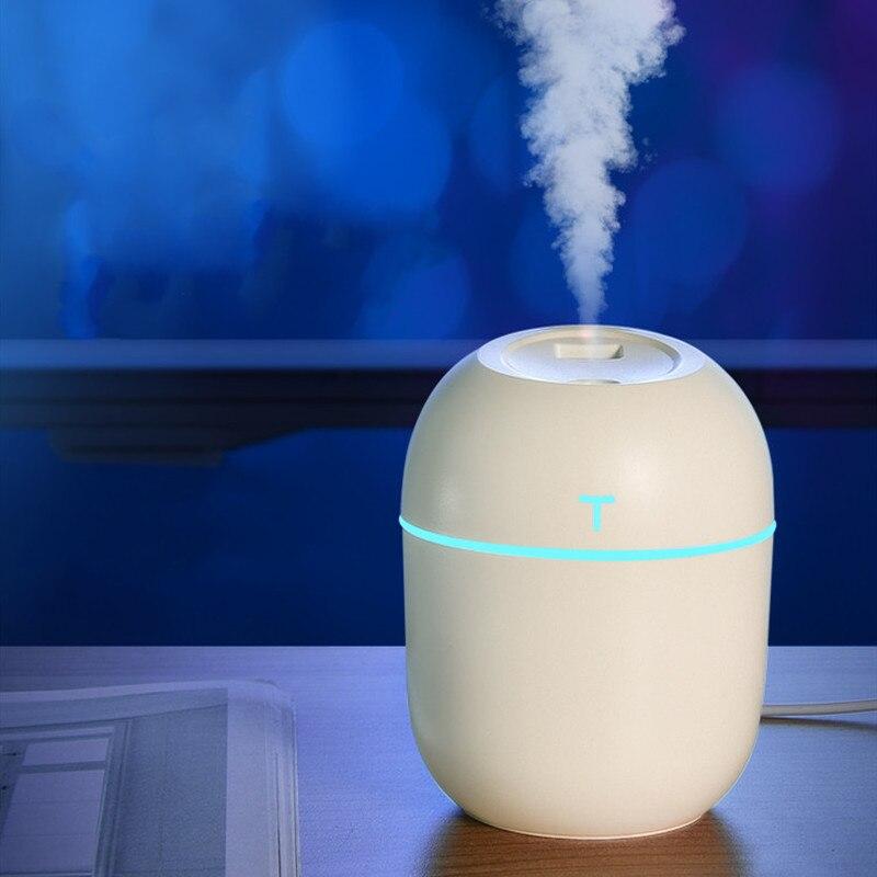 Ультразвуковой увлажнитель воздуха, диффузор эфирного масла для дома и автомобиля, 220 мл, USB, светодиодный, ночник, 2020