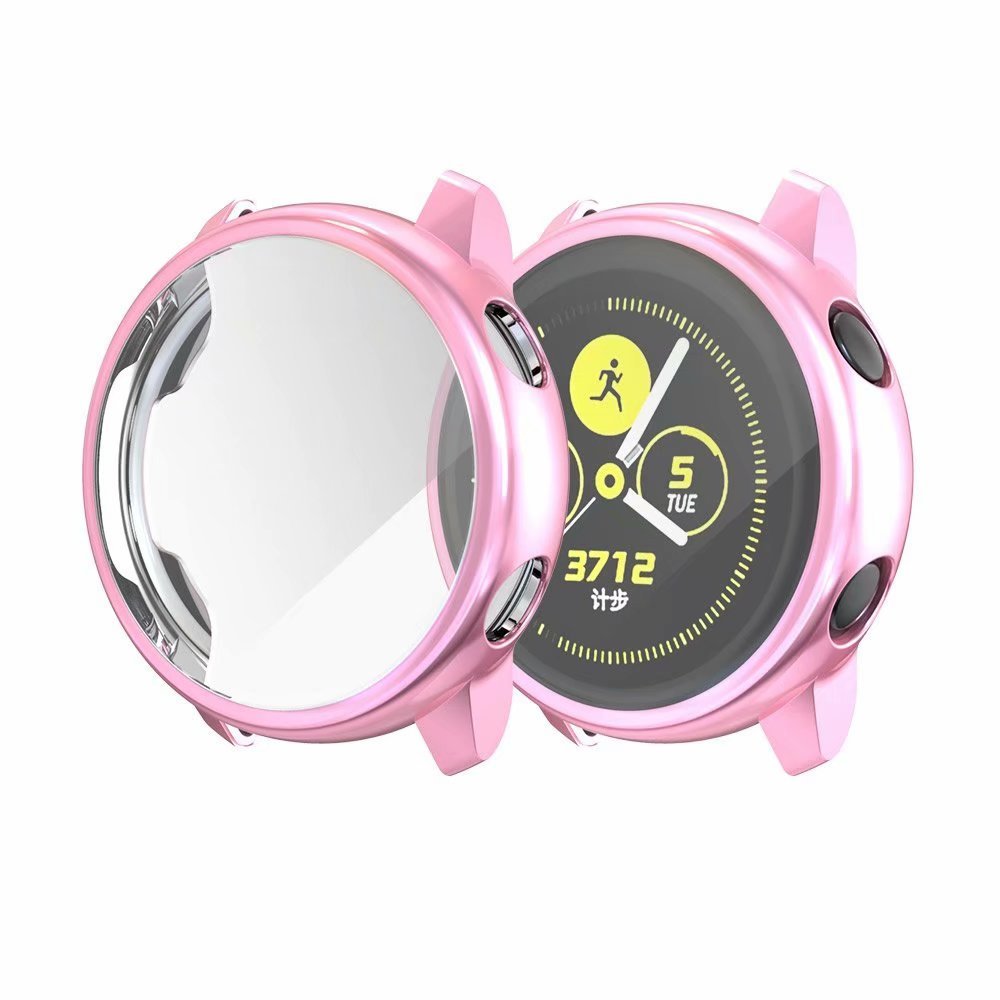 Ультратонкий Мягкий чехол для samsung Galaxy Watch Active, прозрачный защитный чехол из ТПУ для Galaxy Active, 40 мм, полностью силиконовый чехол - Цвет: Розовый