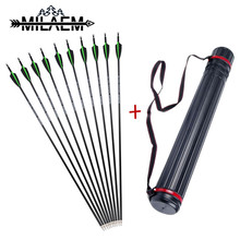 12 pcs  30inch Archery Carbon Arrows ID6.2mm OD7.8mm Spine 500 Composite Fiber Arrow With Adjustable Quiver