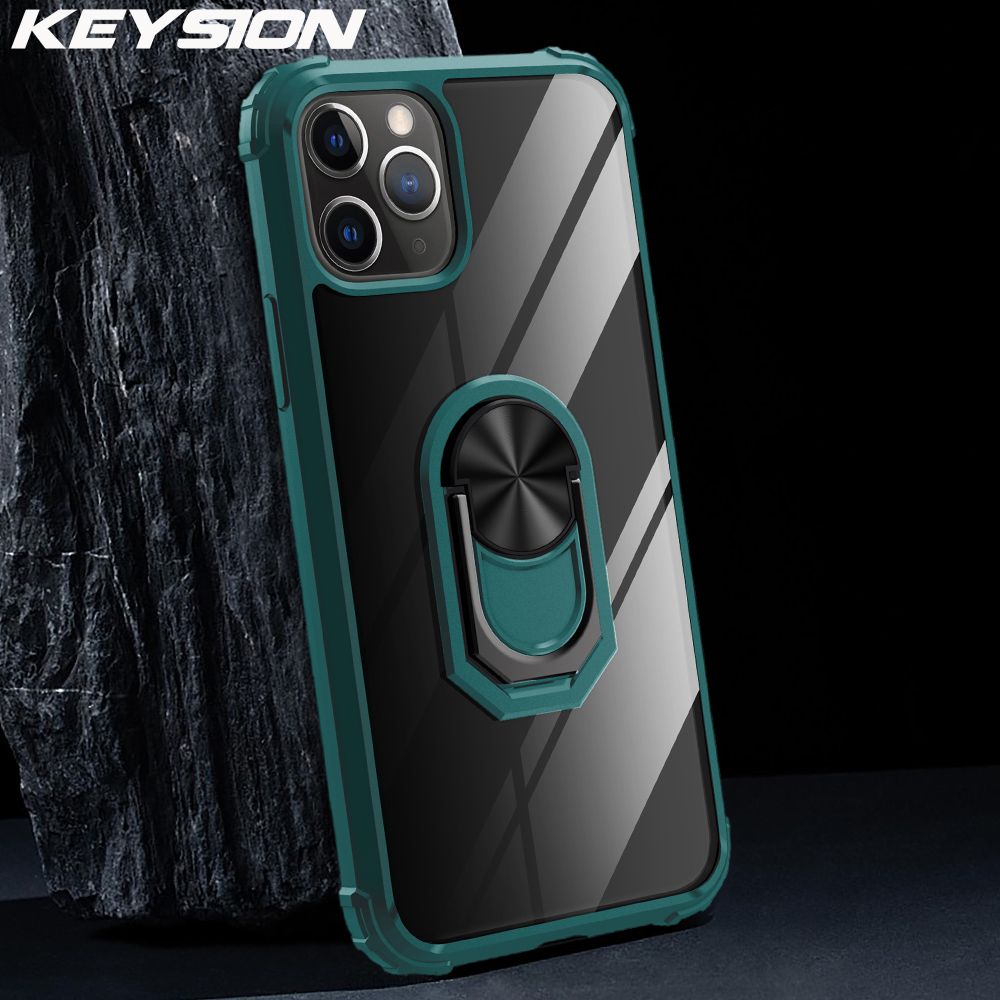 KEYSION Fashion Shockproof Case For iPhone 11 Pro Max silicone Transparent PC Ring Phone Back Cover for iPhone 11 11 Pro Max