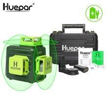Huepar 3d cruz linha auto-nivelamento laser nível 12 linhas verde feixe li-ion bateria com tipo-c porto de carregamento & estojo de transporte duro