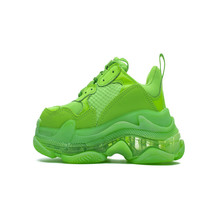 Popular Trend Triple S Clear Sole Men Sneakers Breathable Women Running Shoes Damping Dad Sports Green 35-45