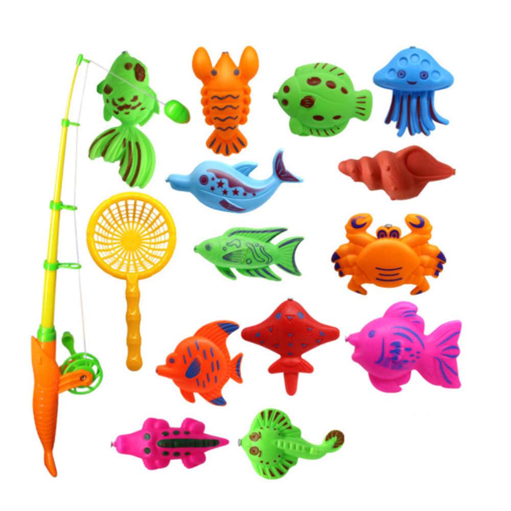 15 Chiếc Trong 1 Bộ Từ Cá Đồ Chơi Thú Vị Câu Cá Bộ Trò Chơi Trẻ Em Eduational Tiếp Liệu Với Tiện Dụng Lưới Hoạt Hình Và cần Câu Cá