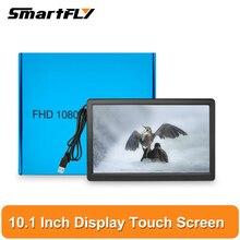 Tela de toque lcd de 10.1 polegadas (adaptação: placa do tinker & raspberry pi), interface hdmi ou vga, monitor fhd resolução 1920x1080