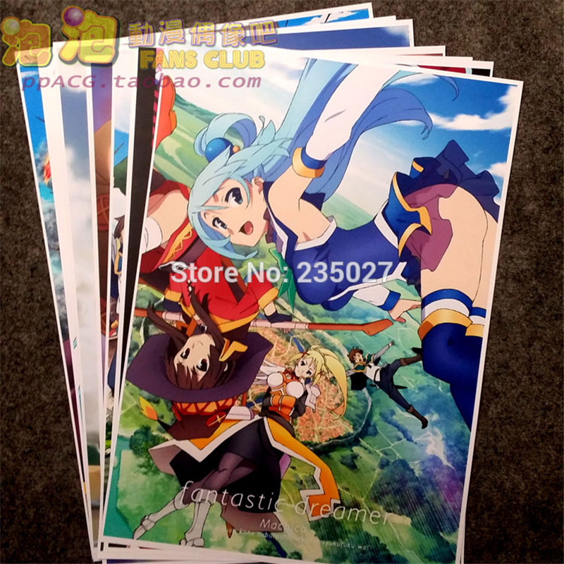 8 Pcs/set Anime Konosuba Poster Kono Subarashi Sekai Ni Shukufuku Wo Wall Pictures Room Stickers Toys For Gift