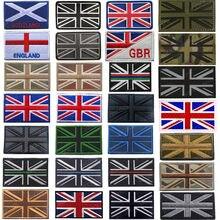 Remendo reflexivo infravermelho do bordado da bandeira do reino unido do ir grã-bretanha nacional reino unido gb bandeiras remendos bordados emblemas