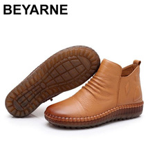 BEYARNEDropshipping Fashion Autum Flat Boots Genuine Leather Ankle Shoe