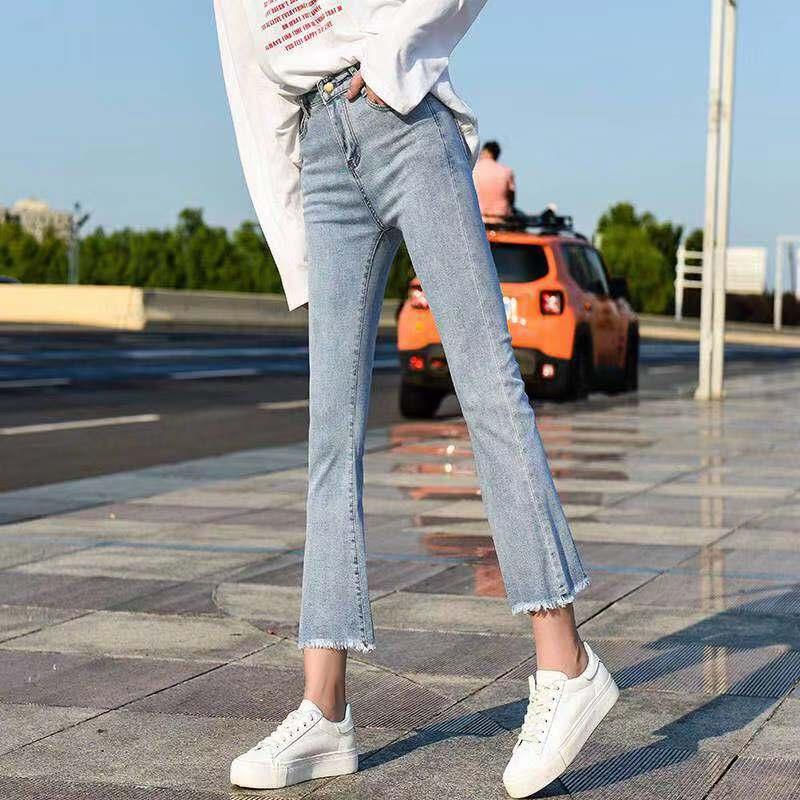 New Spring Korean Casual Flare Loose High Waist Jeans Feminina Denim Mom Jeans Light Blue Black White Plus Size Wide Leg Pants