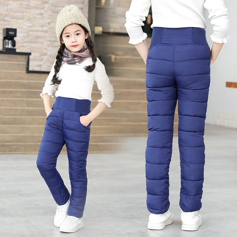Criança Das Meninas Dos Meninos da Criança Calças de Algodão Acolchoado de Inverno Grossas Calças Quentes Calças De Esqui Impermeável 9 10 12 Ano Cintura Alta leggings Bebê