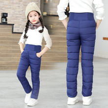 Toddler Kid Boys Girls Winter Pants Cotton Padded Thick Warm Trousers Waterproof Ski Pants 9 10 12 Year High Waist Leggings Baby cheap cutyome Polyester CN(Origin) Straight Unisex NONE Full Length Fits true to size take your normal size Elastic Waist Solid