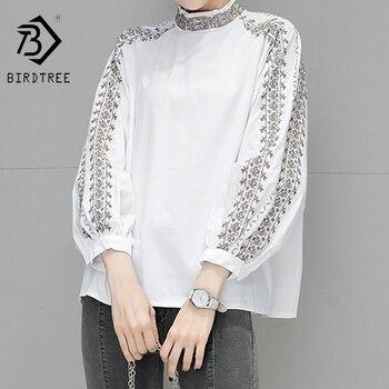 Novedad primavera 2020, camisa elegante bordada de algodón con cuello levantado para mujer, Blusa de manga larga blanca informal, Tops T01315M
