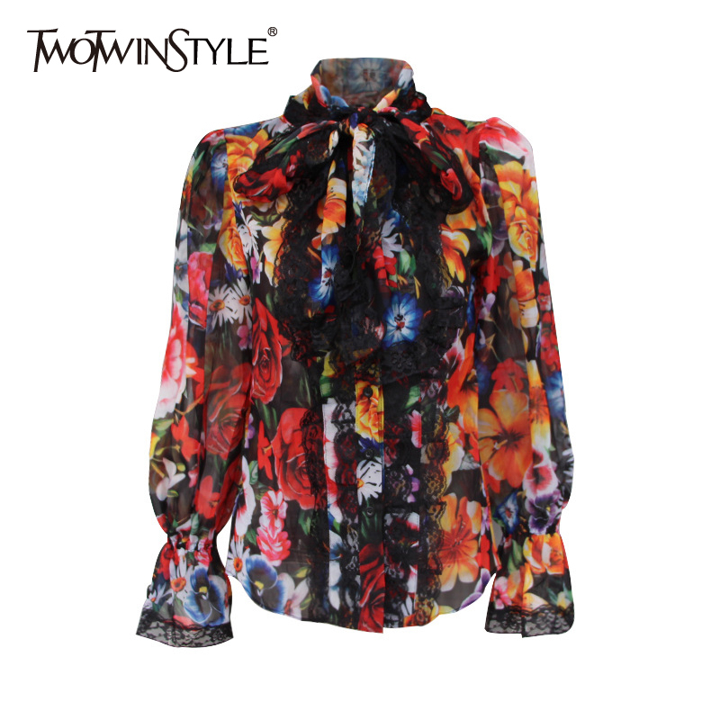 TWOTWINSTYLE Women's Shirts Blouse Bowknot Flare Long Sleeve Patchwork Lace Print Tops Female Elegant Fashion 2020 Clothing Tide