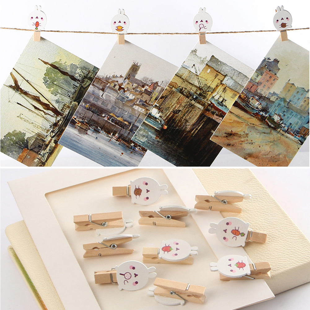 10pcs Mini Note Birch Storage File Paper Craft Cartoon Rabbit Decoration Office Supplies DIY Happy Easter Snacks Photo Clip